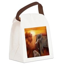 Elephants by The Waterhole (Paint Canvas Lunch Bag