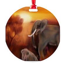 Elephants by The Waterhole (Painted Ornament