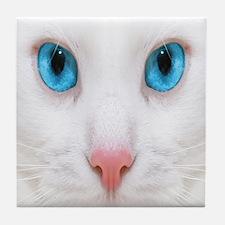 White Cat Tile Coaster