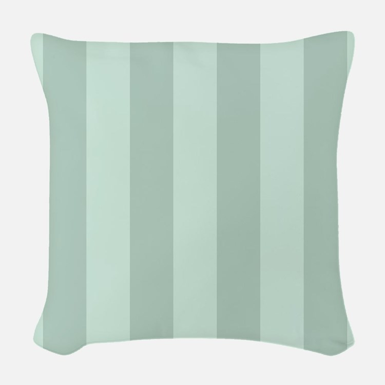 Striped Pastel Green Woven Throw Pillow