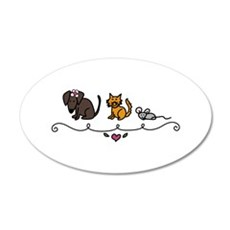 Cat Mouse Dog Friends Animals Pets Wall Decal