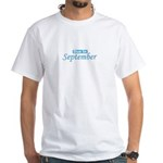 Due In October - Blue White T-Shirt