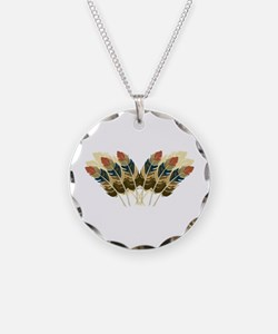 Fall Color Feathers Necklace