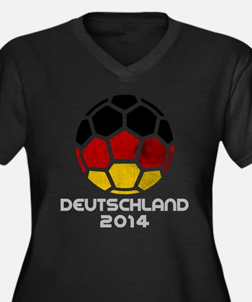 Cute Germany football Women's Plus Size V-Neck Dark T-Shirt