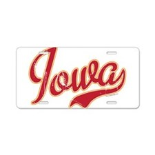 Iowa Script Crimson VINTAGE Aluminum License Plate