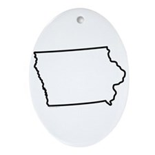 Iowa State Outline Ornament (Oval)