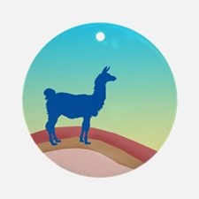 Sunrise Hills Llama sq xl Ornament (Round)