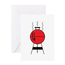 Red BBQ Grill Greeting Cards