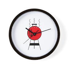 Red BBQ Grill Wall Clock