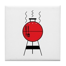 Red BBQ Grill Tile Coaster