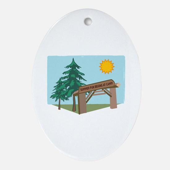 Summer Fun Begins At Camp! Ornament (Oval)