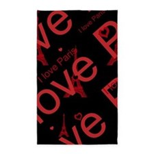 Trendy Black and Red I LOVE PARIS 3'x5' Area Rug