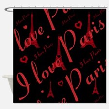 Trendy Black and Red I LOVE PARIS Shower Curtain