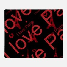 Trendy Black and Red I LOVE PARIS Throw Blanket