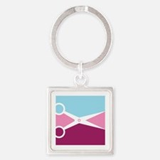 Pop Art Scissors Square Keychain