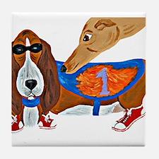 Basset Hound Marathon Racer Tile Coaster