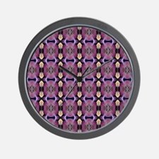 Purple Geometric Pattern Wall Clock