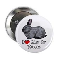 "I Heart Silver Fox Rabbits 2.25"" Button"