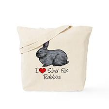 I Heart Silver Fox Rabbits Tote Bag
