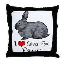 I Heart Silver Fox Rabbits Throw Pillow