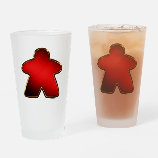 Metallic Meeple - Red Drinking Glass