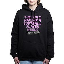 Cute Black softball Women's Hooded Sweatshirt