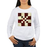 Cracked Tiles - Red Women's Long Sleeve T-Shirt