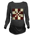 Cracked Tiles - Red Long Sleeve Maternity T-Shirt