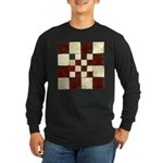 Cracked Tiles - Red Long Sleeve Dark T-Shirt