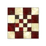 Cracked Tiles - Red Square Sticker 3