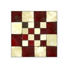 "Cracked Tiles - Red Square Sticker 3"" x 3"""