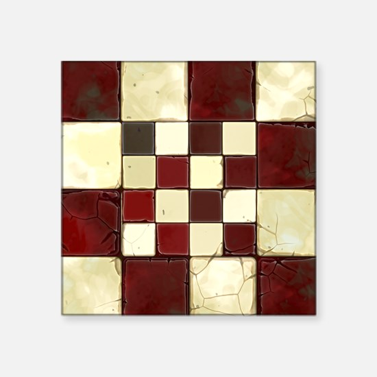 """Cracked Tiles - Red Square Sticker 3"""" x 3"""""""