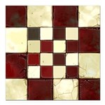 Cracked Tiles - Red Square Car Magnet 3