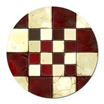 Cracked Tiles - Red Round Car Magnet
