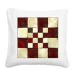 Cracked Tiles - Red Square Canvas Pillow