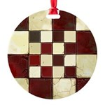 Cracked Tiles - Red Round Ornament