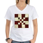 Cracked Tiles - Red Women's V-Neck T-Shirt