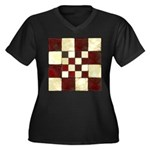 Cracked Tile Women's Plus Size V-Neck Dark T-Shirt