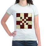 Cracked Tiles - Red Jr. Ringer T-Shirt