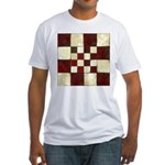 Cracked Tiles - Red Fitted T-Shirt