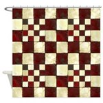 Cracked Tiles - Red Shower Curtain