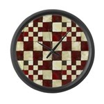 Cracked Tiles - Red Large Wall Clock