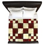 Cracked Tiles - Red King Duvet