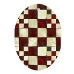 Cracked Tiles - Red Ornament (Oval)