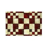 Cracked Tiles - Red Rectangle Magnet