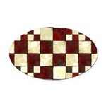 Cracked Tiles - Red Oval Car Magnet