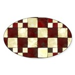 Cracked Tiles - Red Sticker (Oval 10 pk)