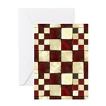 Cracked Tiles - Red Greeting Card