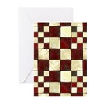 Cracked Tiles - Red Greeting Cards (Pk of 10)