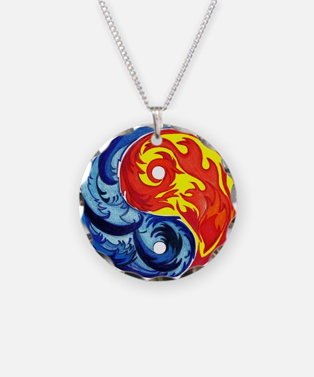 Yin-Yang Fire and Ice Necklace